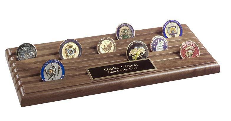 Challenge Coin Rack - Shell Casing 6-Row Coin Display